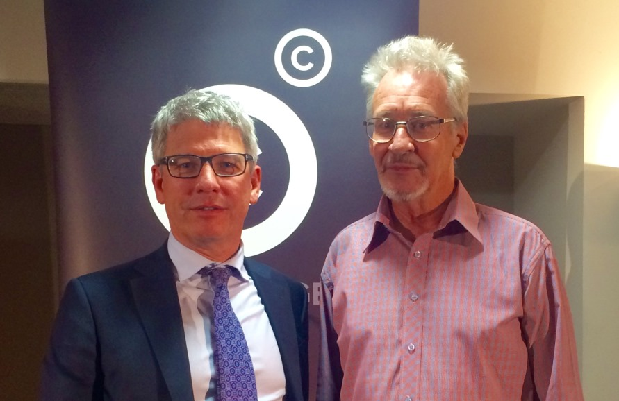 Copyright Agency CEO Adam Suckling (left) with author Mark Henshaw