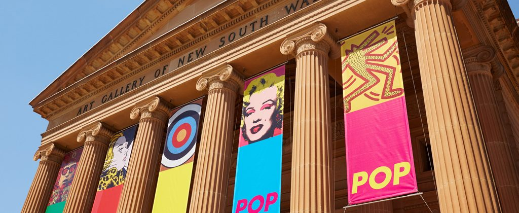 Pop to popism Banners hang from the Art Gallery of New South Wales featuring artworks licensed by Viscopy. © AGNSW
