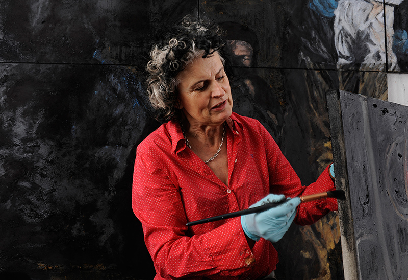 Mandy Martin at work on An Ill Wind in her Sydney studio. Photography by Greg Weight.