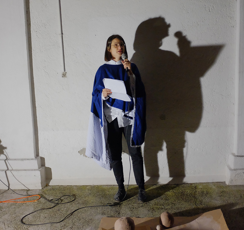Sarah Rodigari performing at the MARSO gallery in Mexico. Image courtesy of Sarah Rodigari.