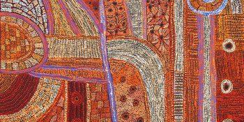 Betty Chimney & Raylene Walatinna, Nganampa Ngura (Our Country) (2018), Acrylic on Linen, 122 x 152cm.