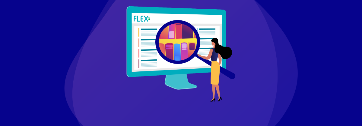 Illustration of woman searching for content on the FLEX platform.